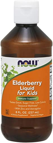 NOW Supplements, Liquid Elderberry for Kids with Zinc and Astragalus, Immune Support*, 8-Ounce