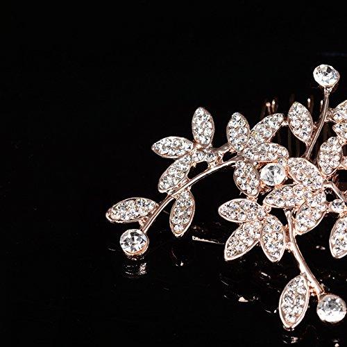 usongs Korean bridal headdress flower diamond luxury diamond pearl hair plug comb hair accessories wedding bridesmaid accessories by usongs (Image #4)