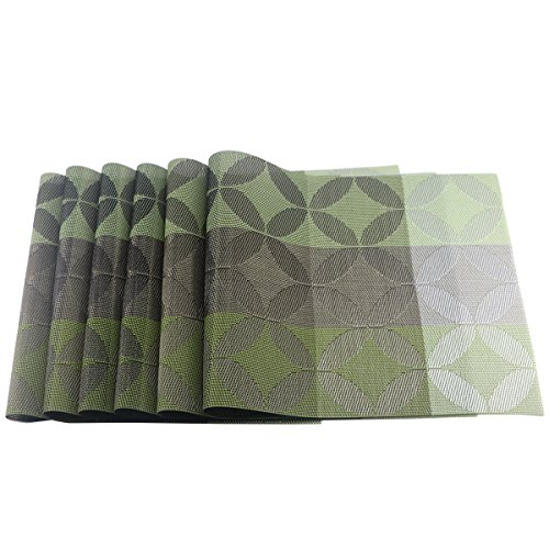 Uniturcky Placemats Dining Room Placemats for Table Heat Insulation Food Grade PVC Pack of 6 - (6, Green) by Uniturcky