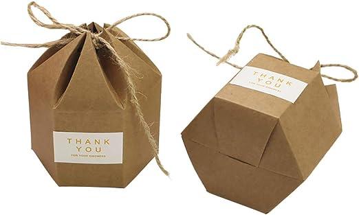 Lazeny 50x Caja de Caramelo Creativo Hexágono Papel Kraft Caja de Dulces Cuerda de cáñamo Cajas de Regalo para Boda cumpleaños Navidad Ceremonia de Graduacion Día de la Ducha del bebé Bautizos: