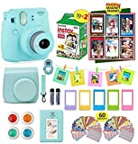 : Fujifilm Instax Mini 9 ICE Blue Camera + 20 Instant Film Twin Pack, Instax Case + 14 PC Instax Accessories Bundle Kit. Includes; Albums, 4 Color Lenses, Selfie Lens, Frames + 60 Stickers by Shutter