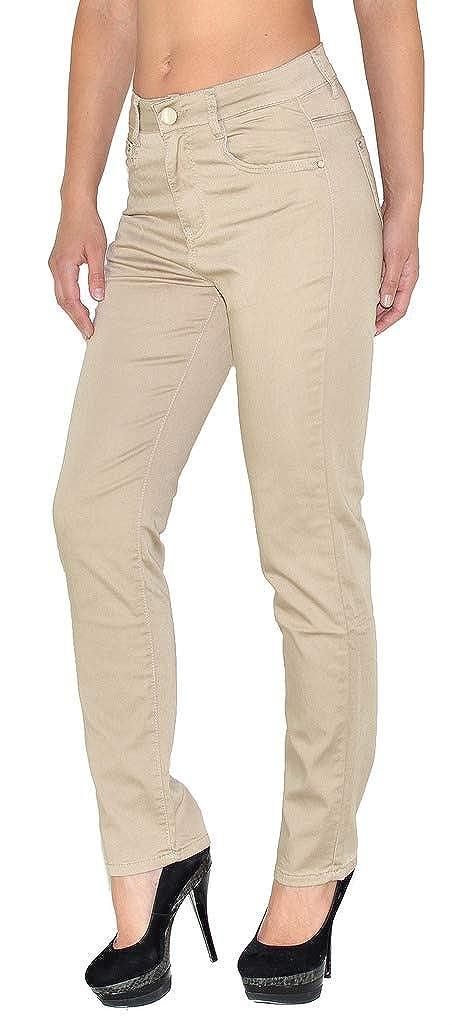 ESRA Damen Jeans Hose Straight Leg Damen Jeanshose viele Farben bis Ü bergrö ß e T101