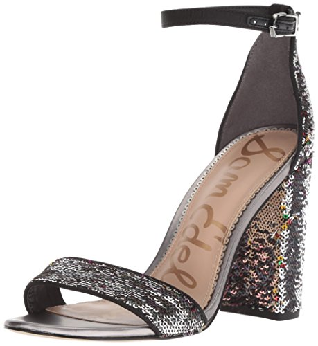 Black Fabric Heels - Sam Edelman Women's Yaro Heeled Sandal, Bright Multi Fiesta Sequins, 8 M US