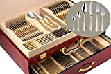 italian 12 drawer storage chest - 75-Piece Gold Flatware Set Dining Service for 12, 18/10 Premium Stainless Steel, 24K Gold-Plated Trim, Silverware Serving Set, Wood Storage Case (