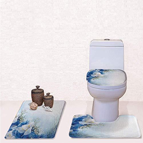 (Comfort Flannel 3 Pcs Bath Rug Set,Contour Mat Toilet Seat Cover,Blue Hydrangeas and White Irises Over The Sea Romantic Bouquet Dreamy with Blue Light Blue White,Decorate Bathroom,Entrance Door,kitch )