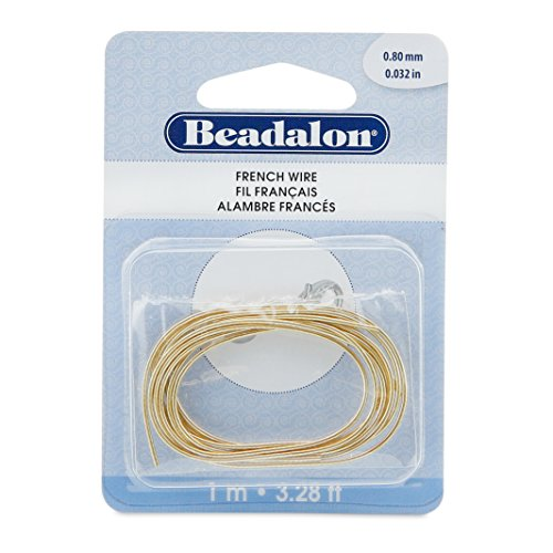 Beadalon French Wire 0.8mm Gold Color, 1-Meter (Wire French Bullion)