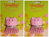 Kitchen Scrub Brush Set of 2 Pink Pigs – Pot Scrubbers, and or Vegetable - Fruit Brush Scrubbers