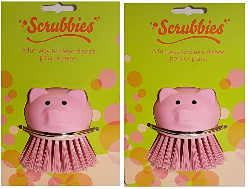 Kitchen Scrub Brush Set of 2 Pink Pigs – Pot Scrubbers, and or Vegetable - Fruit Brush Scrubbers by Scrubbies