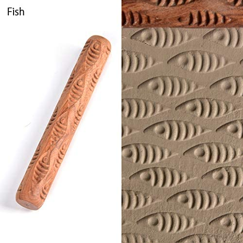 Fish WINGOFFLY 4.7INCH Pottery Tools Wood Hand Rollers for Clay Clay Stamp Clay Pattern Roller