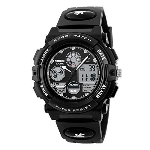 Price comparison product image Children Led Digital Dual Display Wristwatches Boys Quartz Watch Relogio Multifunction 50M Waterproof Kids Sports Watches (black)