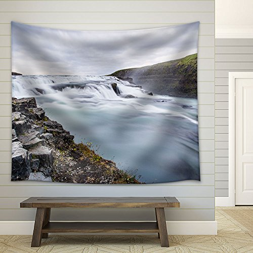 Landscape Waterfall in Mountains Fabric Wall