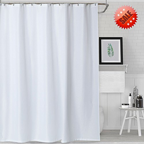 NANAN White Shower Curtain for Bathroom Water-Repellent Waffle Weave Fabric Shower Curtain in Bath - 72 x 72 inch,White