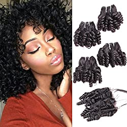 "Funmi Curly Human Hair 4 Bundles With 4x4Closure Natural Black Unprocessed Human Remy Hair Short Spiral Bouncy Curls Weave Brazilian Virgin Hair Weft 250Gram/lot(10"", Funmi with Closure)"
