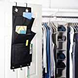 """Over the Door Magazine Storage Pockets Hooks Books Organizational Back to School Office Home, 14'W x32""""H, Color: Black & Silver."""