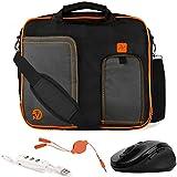 VanGoddy Pindar Orange Trim Laptop Bag w/Accessories for Samsung ChromeBook/Galaxy Book/Galaxy Tab/Notebook M 10''-12inch