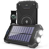 Solar Power Bank, Qi Portable Charger 10,000mAh External Battery Pack Type C Input Port Dual Flashlight, Compass (IPX4 Splashproof, Solar Panel Charging, DC5V/2.1A Input) (Black)