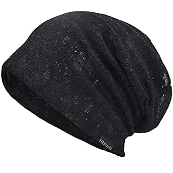 VECRY Men Slouch Hollow Beanie Thin Summer Cap Skullcap B083 (92-Black)