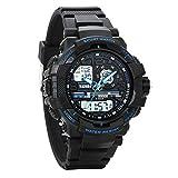 Avaner Outdoor Sports Electronic Kids Watch Blue Analog Dual Time Water Resistant Quartz Watch w/ Chronograph, Alarm, Backlight Calendar Date for Boys Girls Children