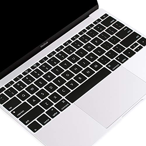 "Masino Silicone Keyboard Cover Ultra Thin Keyboard Skin for New MacBook Pro 13-Inch 13"" Model without/no Touch Bar A1708 - Released in 2016 & MacBook 12-Inch 12"" A1534 - Released in 2015 (Black)"