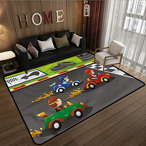 """Price comparison product image Classroom Rug Boys Room Cars Children Cartoon Anti-Static,  Water-Repellent Rugs 5'10""""x6'10"""""""