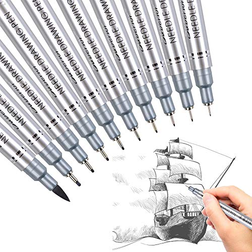 Xileyw Precision Micro-Line Pens,10 Set Black,Technical Drawing,Brush Lettering, Fineliner, Multiliner, Black Waterproof Archival Ink, Artist Illustration, Anime, Sketching,Manga Pens WritingOffice