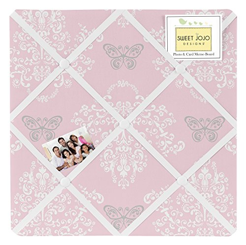 Pink and Gray Damask Butterfly Fabric Memory/Memo Photo Bulletin Board For Alexa Collection