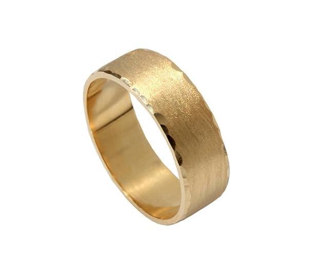 9a846d258a218 Amazon.com: Hammered solid gold flat mens band brushed gold matt ...