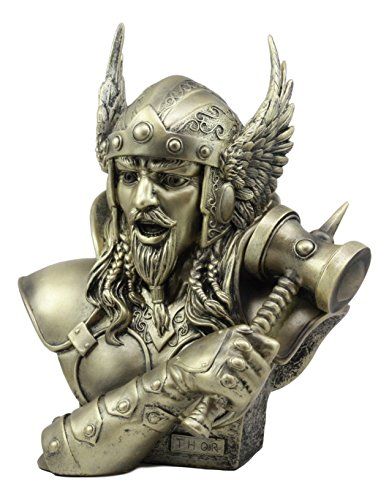 Ebros Large Thor Odinson Wielding Mjolnir Hammer Bust Statue 11