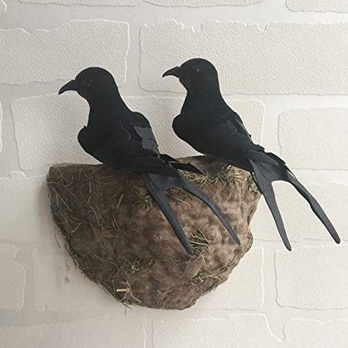 lwingflyer Artificial Simulation Foam Bird Feather Black Swallows with Nest Ornaments DIY Craft for Wedding Decoration Party Accessories - Swallow Bird Nest
