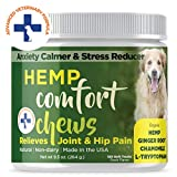 Dog Anxiety Relief with HEMP OIL Calming Treats for Dogs for Separation Anxiety Soft Chews for Storm Anxiety and Motion Sickness Relief with Omega 3 for Hip and Joint Pain 120 Count Calming Treats