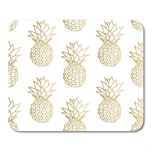 - Emvency Mouse Pads Green Pattern Gold Pineapple Yellow Tropical Golden Fruit White Day Mousepad 9.5