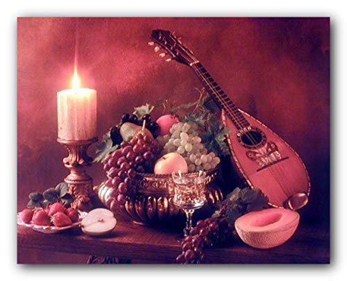 Music Wall Decor Mandolin Instrument & Fruits Still Life Art Print Poster (16x20)