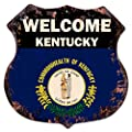 "WELCOME KENTUCKY State FLAG Chic Sign Vintage Retro Rustic 11.5""x 11.5"" Shield Metal Plate Store Home Room Wall Decor Gift"