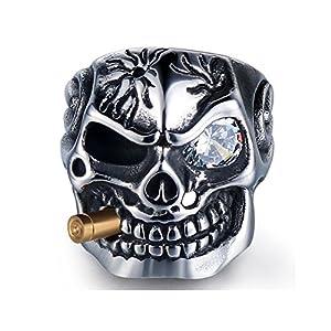 HanTian Anti-allergic domineering diamond-studded stainless steel ring Rock-loving punk-man's ring