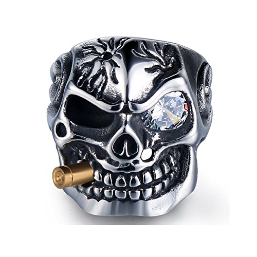 HanTian Stainless Steel Skull Ring Rock-Loving Punk-Men's Ring (15)