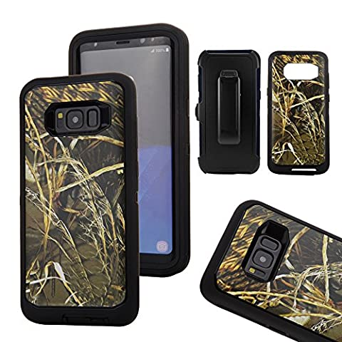 Galaxy S8 Camo Case, Kecko Heavy Duty Premium Hybrid High Impact Shock Absorbent Scratch Resistant Military Grade Protective Shell Cover Case with Belt Clip for Samsung Galaxy S8 (Straw - Camo Cell Phone Cover