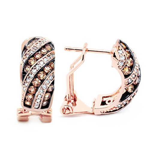 Sparkly Bride Chocolate CZ Omega Stud Earrings Rose Gold Plated Striped Women (French Back Earrings)