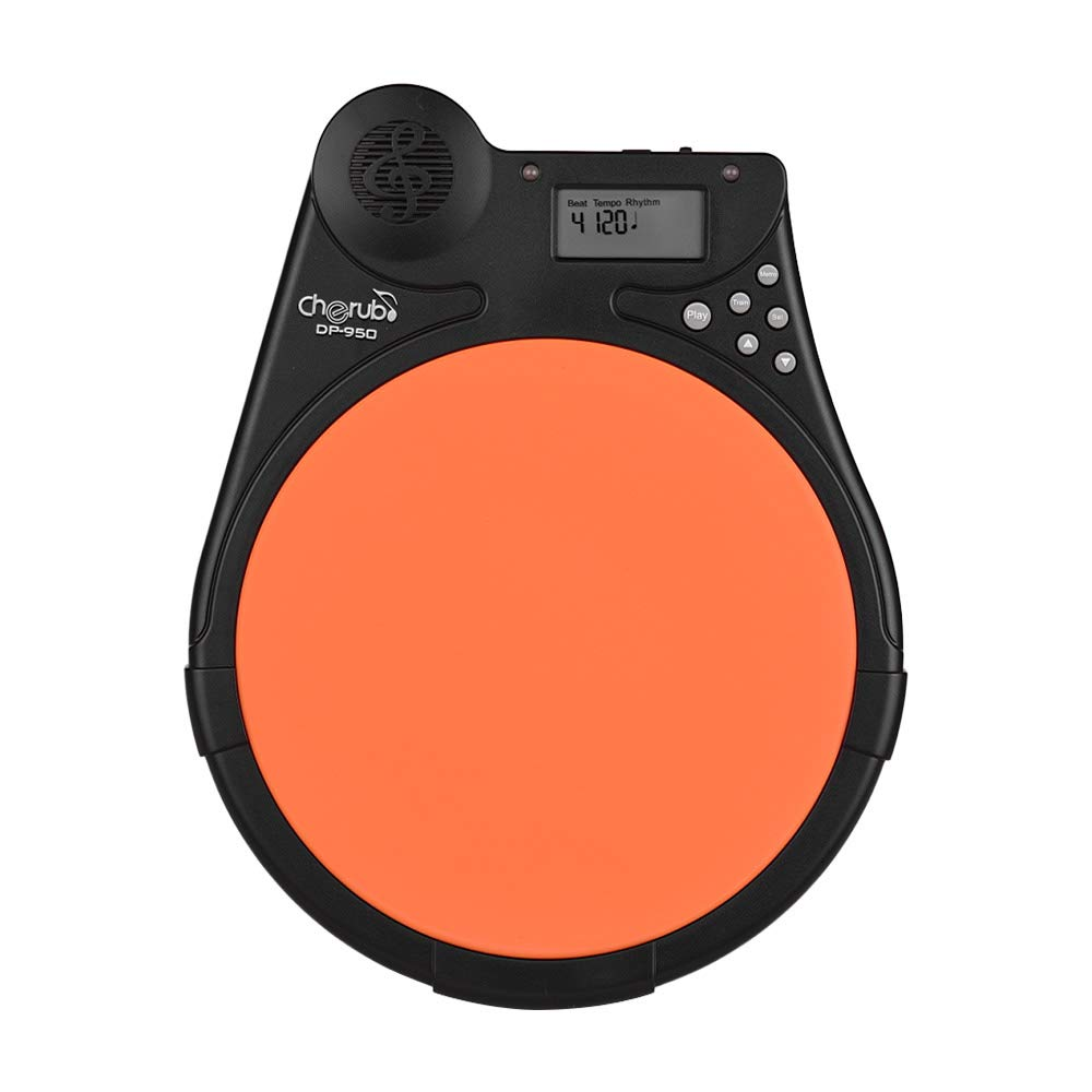 Muslady Cherub DP-950 Mute Drum Tutor Portable Digital Drum Practice Pad with 9 Preset Drum Styles 4 Training Modes Metronome Function LCD Display Adjustable Rhythm Beat Tempo by Muslady