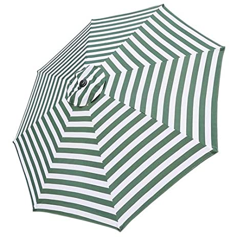 10 Foot Patio Market Umbrella Canopy Replacement Green White Stripes