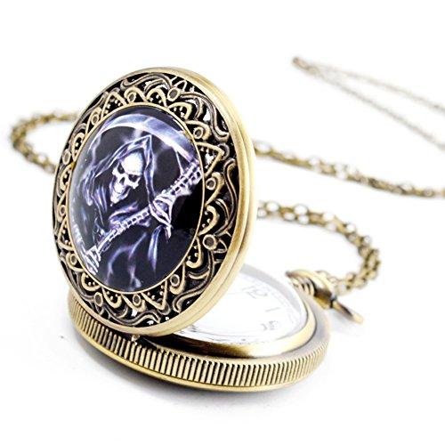 BOSHIYA Vintage Stainless Steel Skull Pocket Watch Grim Reaper Cosplay Dress Watch with Chain Purple by BOSHIYA (Image #3)