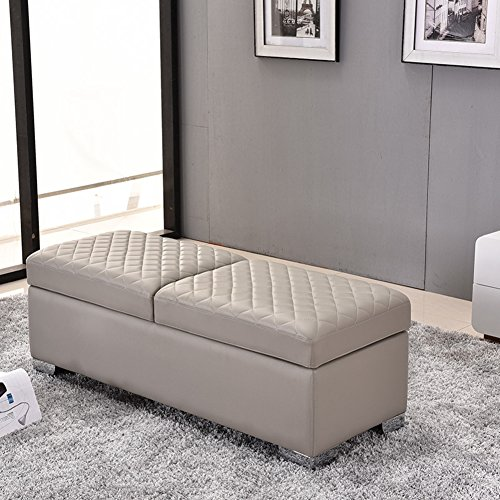 Microsuede Storage Cube - Faux Leather Storage Ottoman Footrest Stool, Wooden Ottoman Bench Seat Chest Comfort Upholstered Toy Box Footstool Trunk Bedroom-Grey 41x45x90cm(16x18x35)