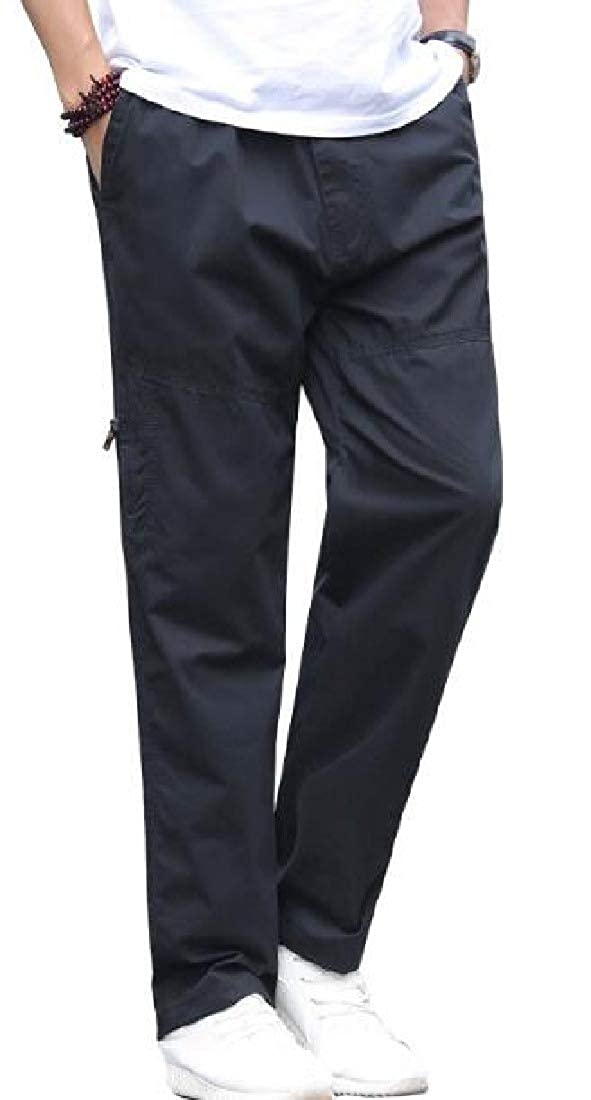 KLJR Men Loose Fit Casual Plus Size Cotton Elastic Waist Straight Leg Pants Trousers