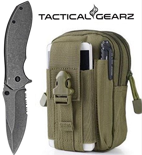 TacticalGearz LIGHTNING DEAL!! Tactical Folding Knife, Bravo StoneWashed, 440c Stainless Steel Blade, Spring Assist Open(Army Green) - Bravo Steel Knife