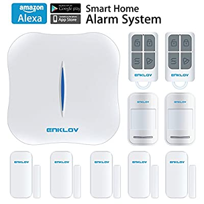 ENKLOV WiFi/PSTN DIY Home Security Alarm System Kit with Door/Window Sensor,PIR Motion Sensor,Remote Tag,Works with Alexa and MIPC Security Camera, App Remotely Control(IOS&Android)