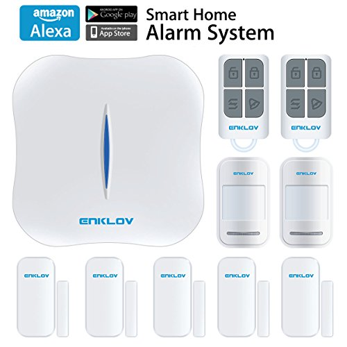 ENKLOV WiFi/PSTN DIY Home Security Alarm System Kit with 5 Door/Window Sensor,2 PIR Motion Sensor,2 Remote Tag,Works with Alexa and MIPC Security Camera, Upgraded App Remotely Control(IOS&Android) ENKLOV