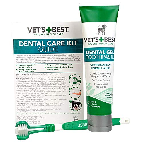 Dental Toothpaste - Vet's Best Dog Toothbrush and Enzymatic Toothpaste Set | Teeth Cleaning and Fresh Breath Kit with Dental Care Guide| Vet Formulated