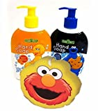 1 Cookie Monster and 1 Big Bird Hand Soap (8 oz each) with Bonus Elmo Bath Sponges (3 Items Total in Kit)