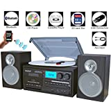 Boytone BT-28SBS, Bluetooth Classic Style Record Player Turntable with AM/FM Radio, Cassette Player, CD Player, 2 Separate Stereo Speakers, Record Vinyl, Radio, Cassette to MP3, SD Slot, USB, AUX
