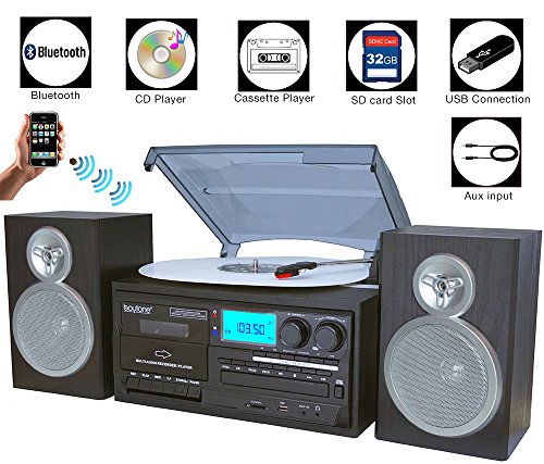 Boytone BT-28SBS, Bluetooth Classic Style Record Player Turntable with AM/FM Radio, Cassette Player, CD Player, 2 Separate Stereo Speakers, Record Vinyl, Radio, Cassette to MP3, SD Slot, USB, AUX by Boytone