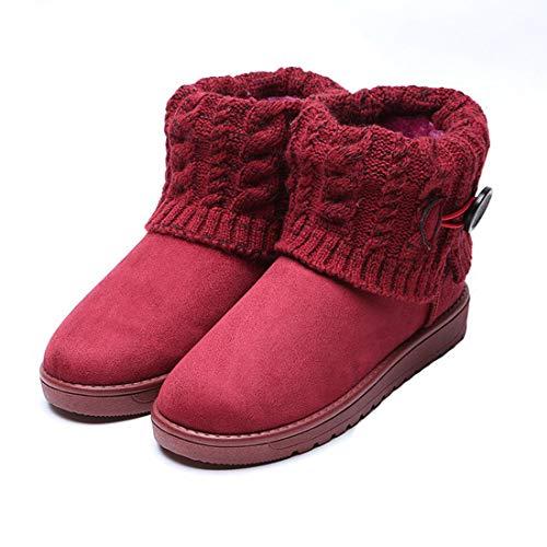 Xuanli Femmes Bottes De Neige, Bouton Unique Textiles Douces Étanche Sport Chaudes Rouge